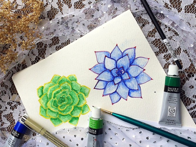Watercolor succulent tutorial - Part 1 - Life-athon