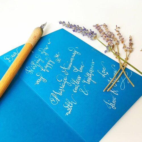 White on Blue calligraphy note